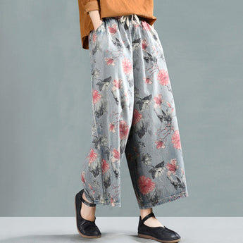 Floral Cropped Wide Leg Denim Pants 2020 New February L Light Blue