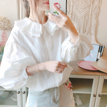 Flounce Lantern Sleeve Loose White Shirt For Women April 2020-New Arrival One Size White