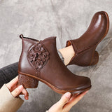 Flowers Appliqued Chunky Heels Leather Boots 2019 New December
