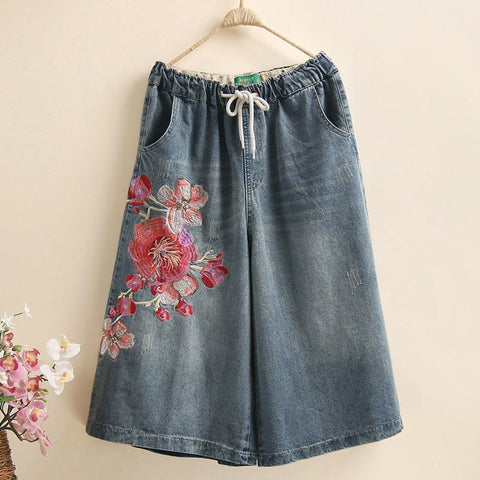 Flowers Embroidered Wide Leg Jeans 2019 New December L Blue