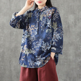 Flowers Prints Cotton Linen Casual Shirt 2019 New December One Size Navy Blue