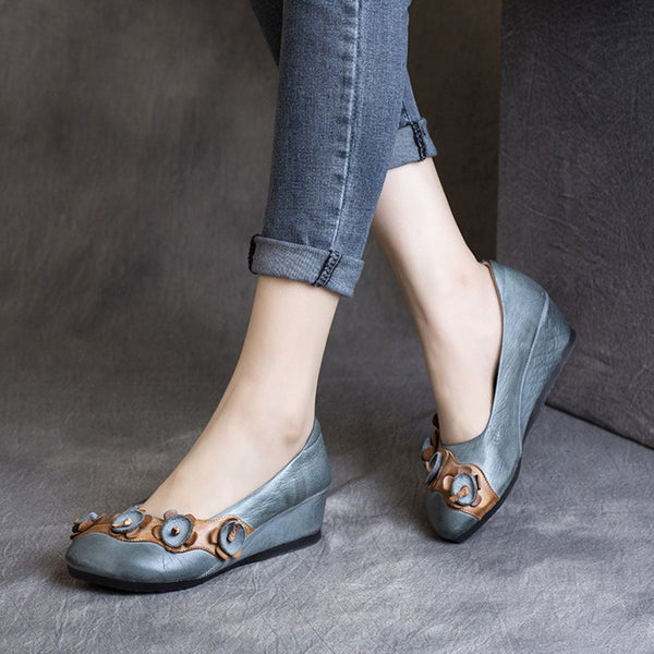 Flowers Wedge Handmade Ethnic Style Shoes 2020 New January 35 Blue Gray