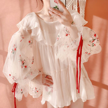 French Style Lantern Sleeve Embroidered Gauze Ruffled Chiffon Blouse April 2020-New Arrival One Size Beige