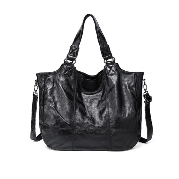 Genuine Leather Large-Capacity Handbag Leather Bag ACCESSORIES Black