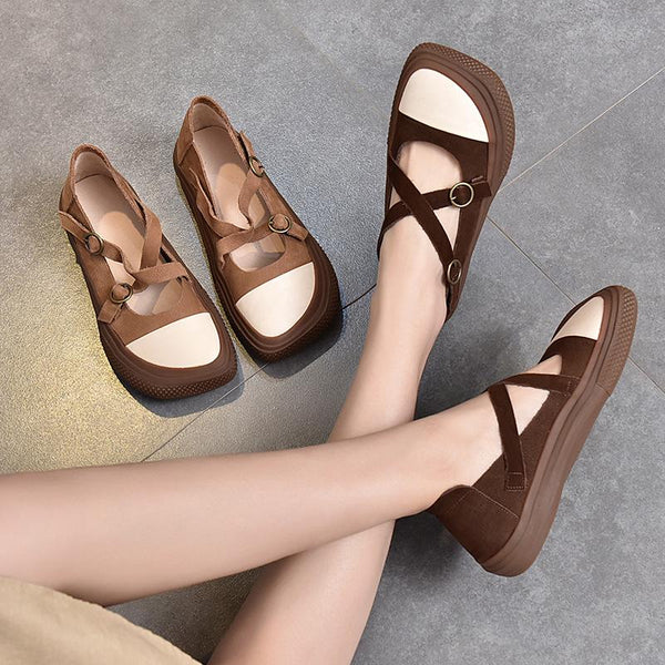 Genuine Leather Square Head Women's Shoes April 2021 New-Arrival