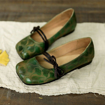 Gingko Embossed Flat Comfort Shoes For Women April 2020-New Arrival 35 Green