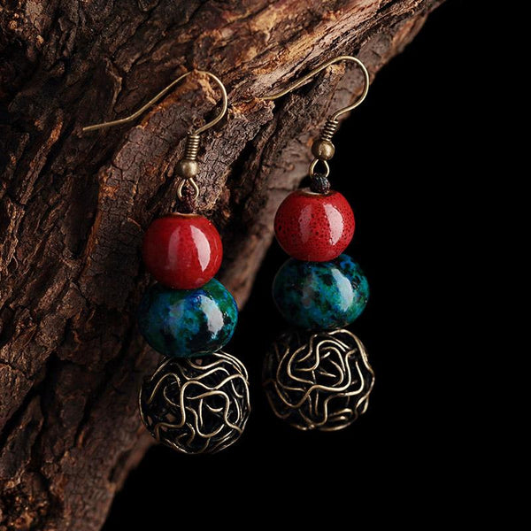 Handmade Jewelry Ethnic Style Women's Earrings ACCESSORIES 4.7CM Alloy