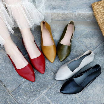 Handmade Pointed Toe Leather Flats