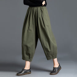Harem Pants With Elastic Waist 2019 November New M Army Green