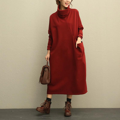 High Neck Knit Cotton Dress Winter Dress