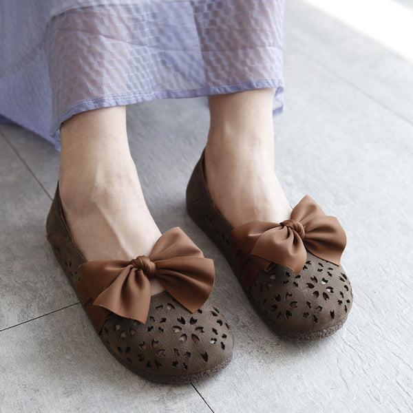 Hollow Out Leather Flats With Bowknot Design 35 Gray