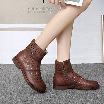 Hollow Retro Casual Short Boots 2020 New January 35 Brown