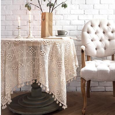 Home Decoration Tassel Table Cloth Simple Lace Table Clothes Home Linen 60cm*60cm Beige