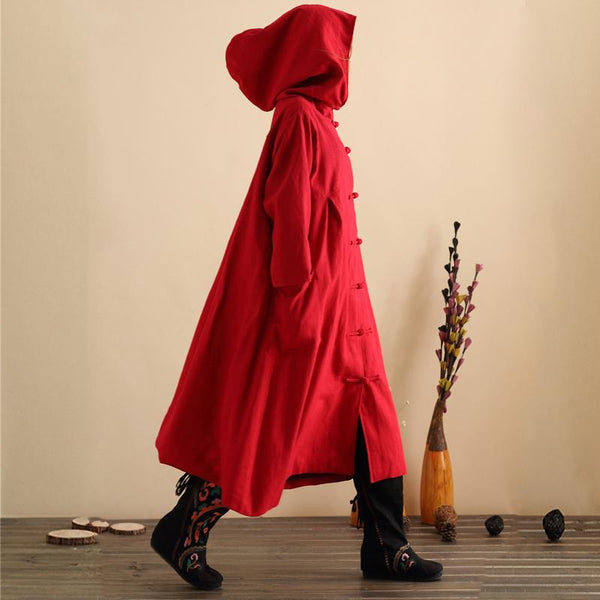 Hooded Linen Wizard Hat Disc Button Trench Coat OCT https://item.taobao.com/item.htm?id=537609373780 RED