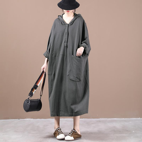 Hooded Single Pocket Mid-length Pullover Sweatshirt Dress Autumn September 2020 new arrival