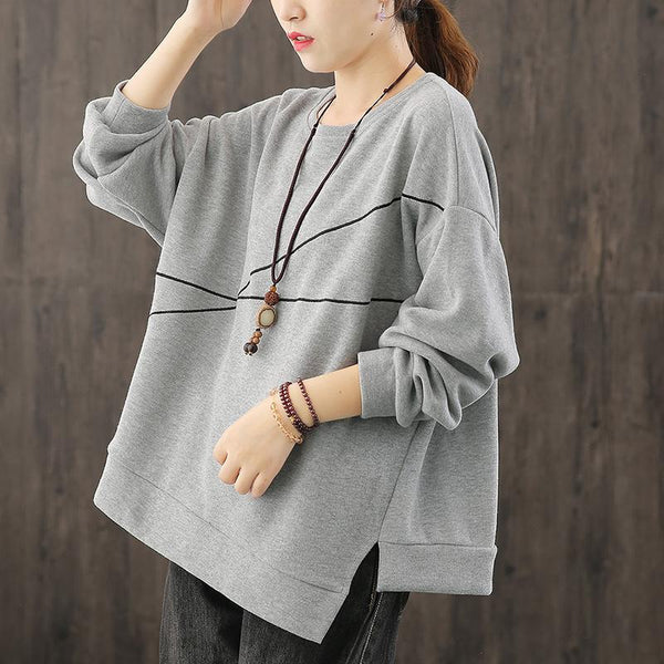 Irregular Sweatshirt Women Oversized Autumn Top August 2020-New Arrival One Size Gray