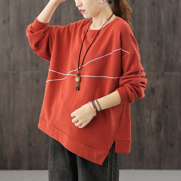 Irregular Sweatshirt Women Oversized Autumn Top August 2020-New Arrival One Size Red