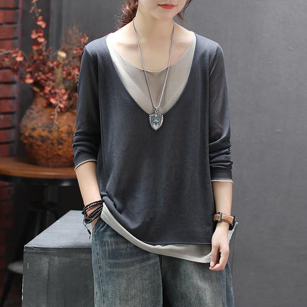 Knitted Linen Fake Two-piece Round Neck T-shirt Nov 2020-New Arrival Free Size black