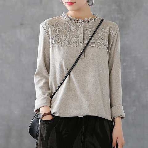 Lace Blouse Cotton Long-Sleeved T-Shirt 2019 New December One Size Khaki