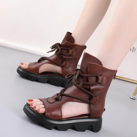 Lace-up Leather 2020 New Retro Sandals August 2020-New Arrival