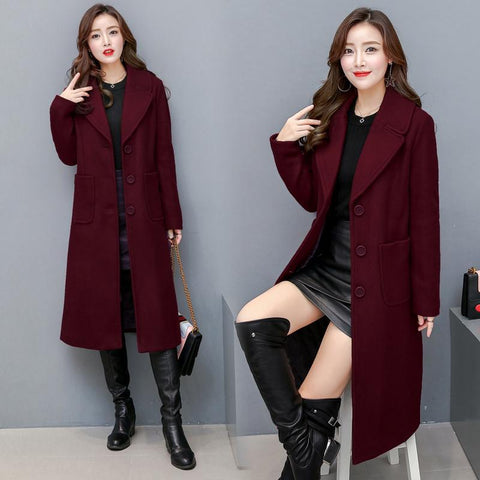 Lapel Plain Single Breasted Long Woolen Coat Winter Coat