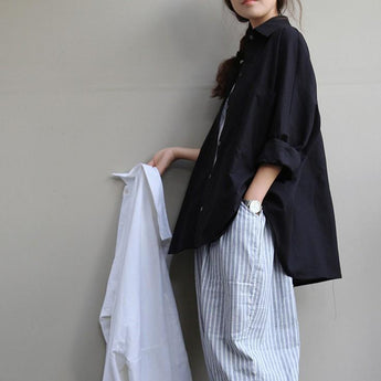 Large size women's Long Sleeve Linen Shirt 2020 New February One Size Black