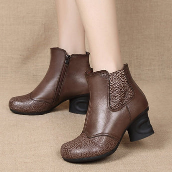 Leather Embossed Side Zippers Women Boots 2019 New December