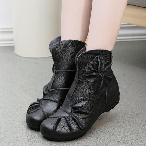 Leather Ethnic Flower Flat Cotton Boots Shoes 35 Black