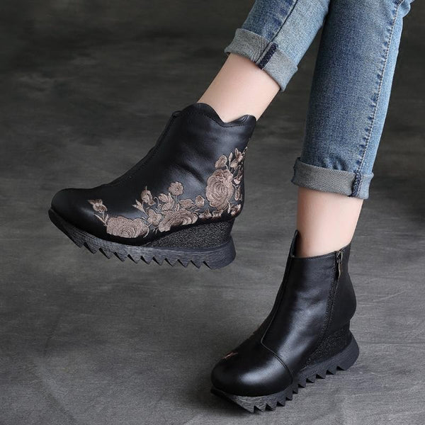 Leather Hand-embroidered Short Boots Dec 2020-New Arrival 35 Black