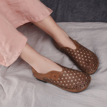 Leather Hollow Out Flats Shoes