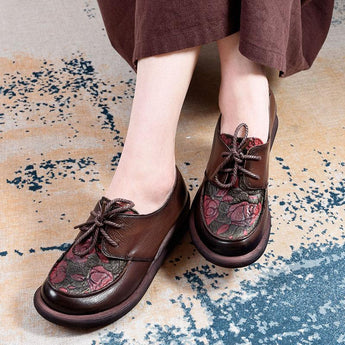 Leather Lace Shoes Flowers Shoes August 2020-New Arrival 35 BROWN