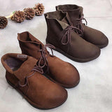 Leather Lace-up Literary Short Boots Nov 2020-New Arrival