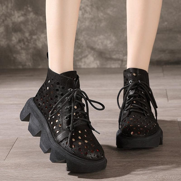 Leather Retro Lace-Up Thick-Soled Ethnic Hollow Boots July 2020-New Arrival Black 34
