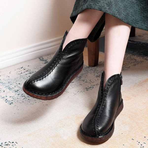 Leather Vintage Ethnic Style Soft Women Ankle Boots ( Added plush styles) Shoes 35 Black