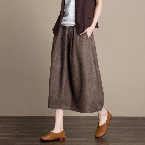 Linen Bud Skirt September September 2020 new arrival BROWN M