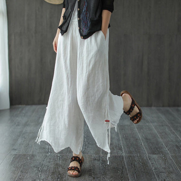 Linen Casual Irregular Pants For Women May 2020-New Arrival One Size White