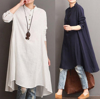 Linen Long Sleeve Dress Nov 2020-New Arrival