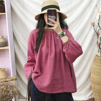 Linen Shirt Mock Turtle Neck Loose Casual Women Top Feb 2021 New-Arrival Free Size Rose red