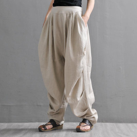 Linen Women's Summer Loose Casual Trousers Pants March-2020-New Arrival One Size Beige