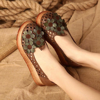 Literary Retro Hollow Shoes September September 2020 new arrival 35 brown