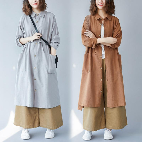 Long Cotton And Linen Trench Coat Shirt Autumn September 2020 new arrival