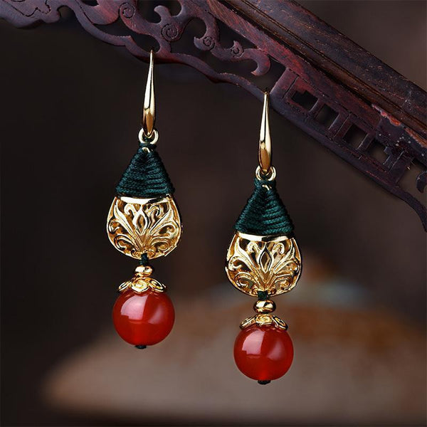 Long Pendant Gold Plated Agate Earrings Jewelry One Size As Picture