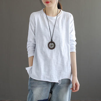 Long-sleeved Fringed Slit Cotton T-shirt April 2021 New-Arrival One Size White