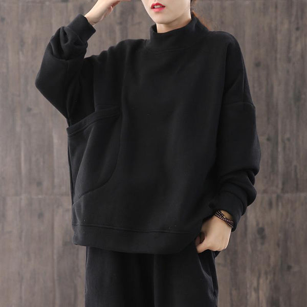 Long Sleeves For Ladies With Neck And Sweatshirt OCT ONE BLACK