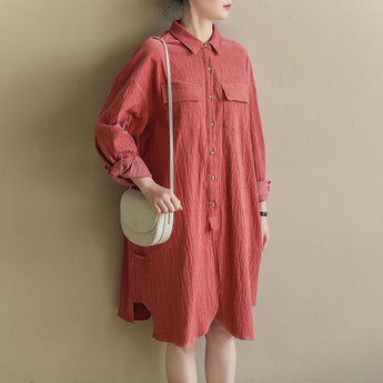 Loose Casual Bubble Cotton Linen Shirt Dress Spring 2019 April New M Pink