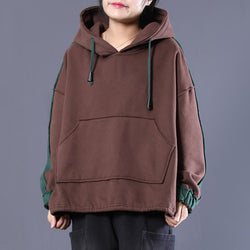 Loose Casual Colorblock Split Hooded Sweatshirt Sweatshirt L As the picture