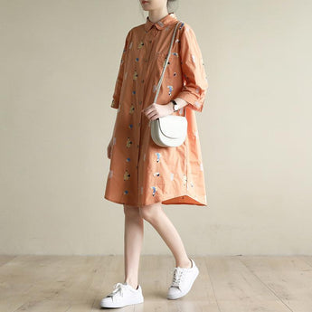 Loose Casual Embroidery Orange Mid-Length Shirt Dress 2019 April New M Orange