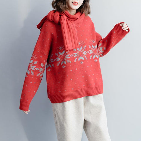Loose Casual Round Neck Women Sweater With A Scarf Sweater