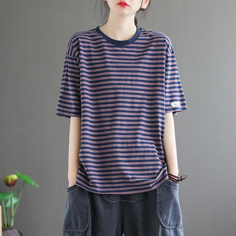 Loose Casual Short-sleeved Cotton Stripe T-shirt April 2021 New-Arrival One Size Purple