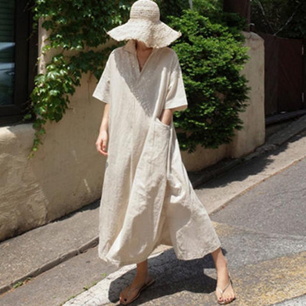 Loose Cotton And Linen Split Knee-Length Shirt Dress June 2020-New Arrival S Beige
